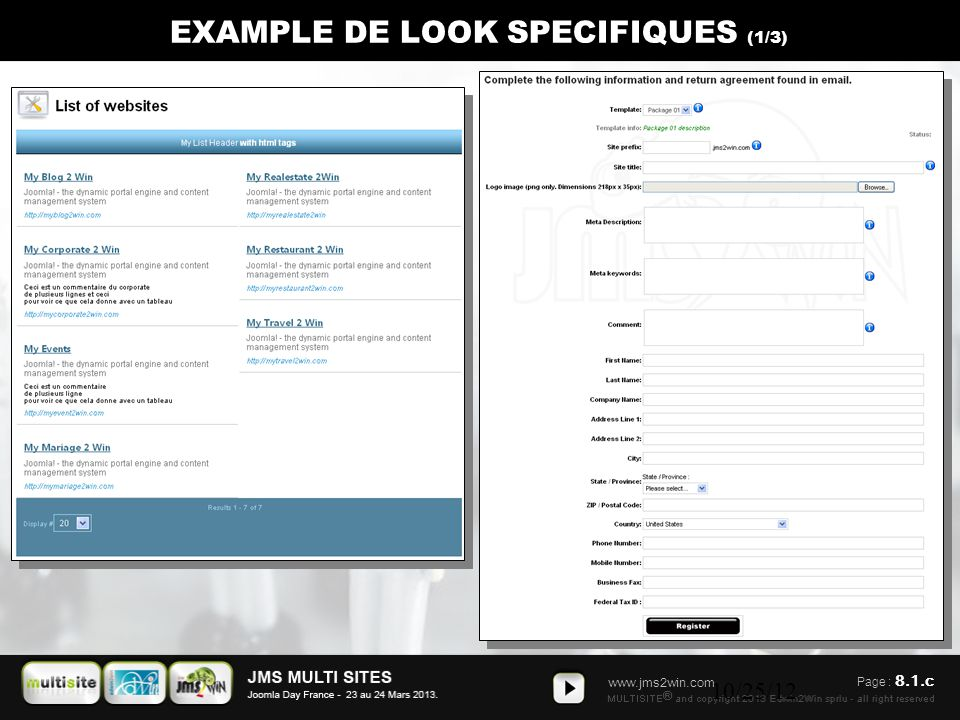 www.jms2win.com 10/25/12 EXAMPLE DE LOOK SPECIFIQUES (1/3) Page : 8.1.c