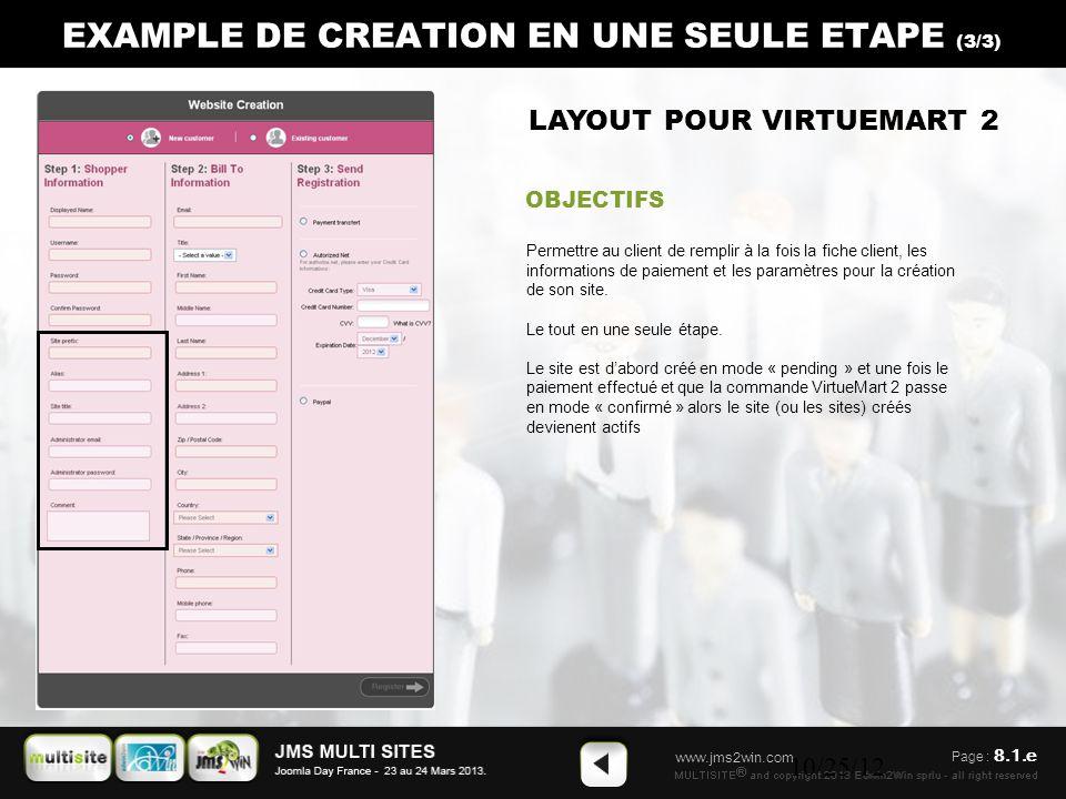 www.jms2win.com 10/25/12 EXAMPLE DE CREATION EN UNE SEULE ETAPE (3/3) LAYOUT POUR VIRTUEMART 2 OBJECTIFS Permettre au client de remplir à la fois la fiche client, les informations de paiement et les paramètres pour la création de son site.