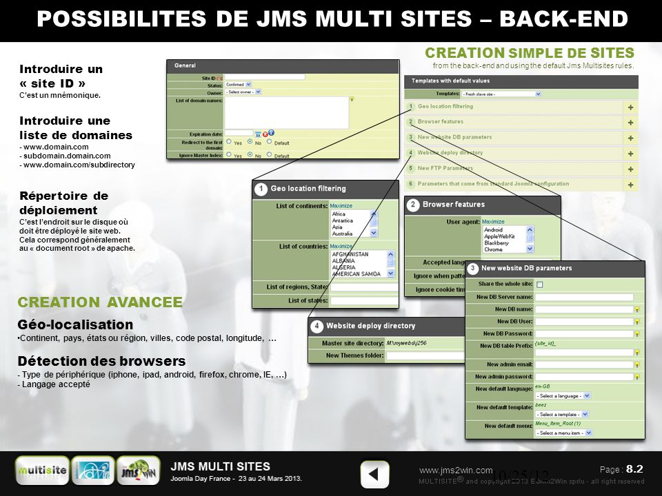 www.jms2win.com 10/25/12 CREATION SIMPLE DE SITES from the back-end and using the default Jms Multisites rules. Introduire un « site ID » C'est un mné