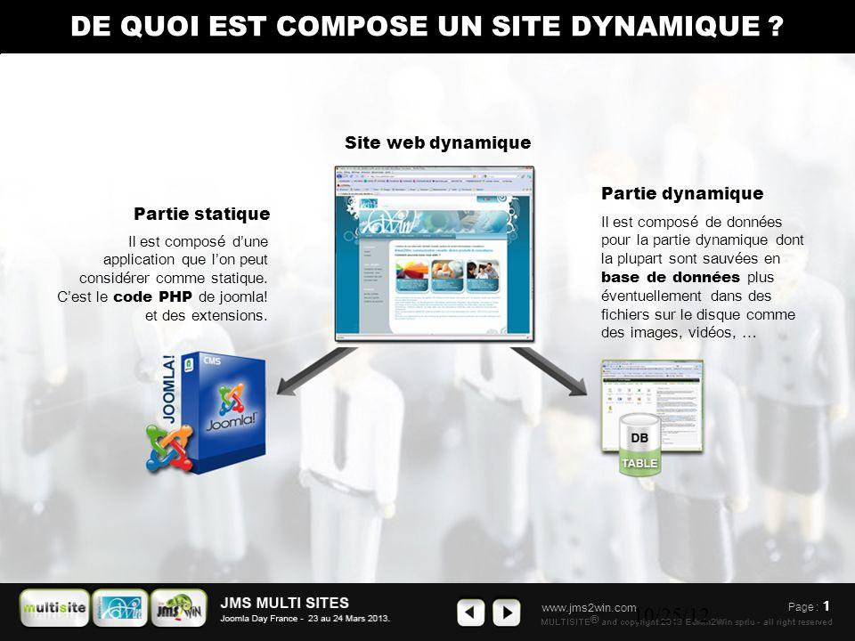 www.jms2win.com 10/25/12 Page : 1 Partie dynamique Il est composé de données pour la partie dynamique dont la plupart sont sauvées en base de données plus éventuellement dans des fichiers sur le disque comme des images, vidéos, … Site web dynamique Partie statique Il est composé d ' une application que l ' on peut considérer comme statique.