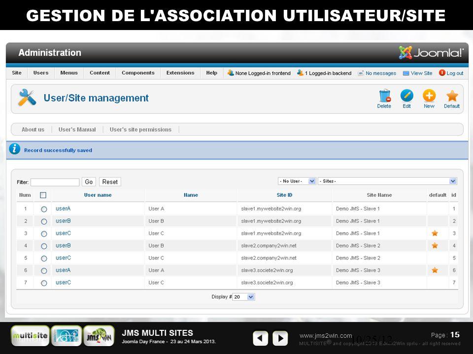 www.jms2win.com 10/25/12 GESTION DE L ASSOCIATION UTILISATEUR/SITE Page : 15
