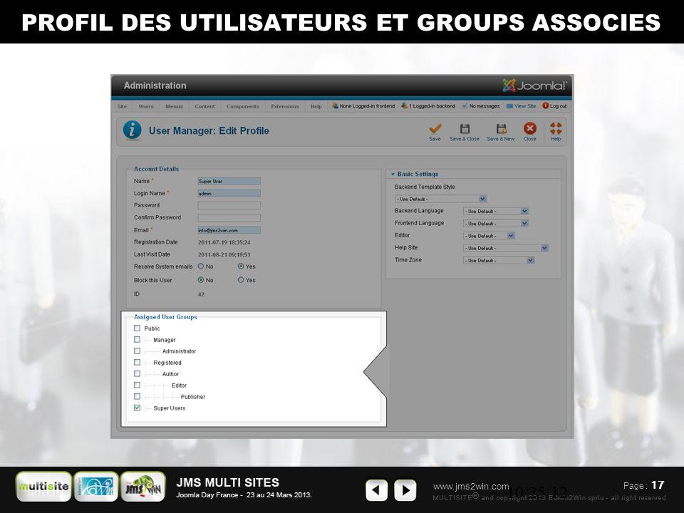 www.jms2win.com 10/25/12 PROFIL DES UTILISATEURS ET GROUPS ASSOCIES Page : 17