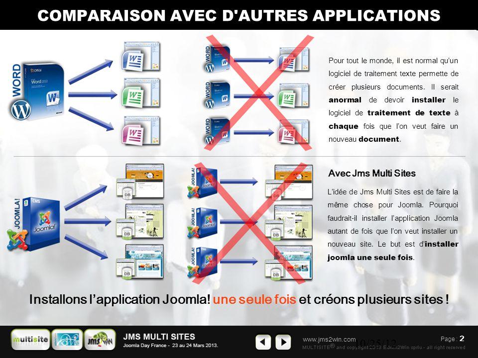 www.jms2win.com 10/25/12 Page : 2 L'idée de Jms Multi Sites est de faire la même chose pour Joomla. Pourquoi faudrait-il installer l'application Jooml