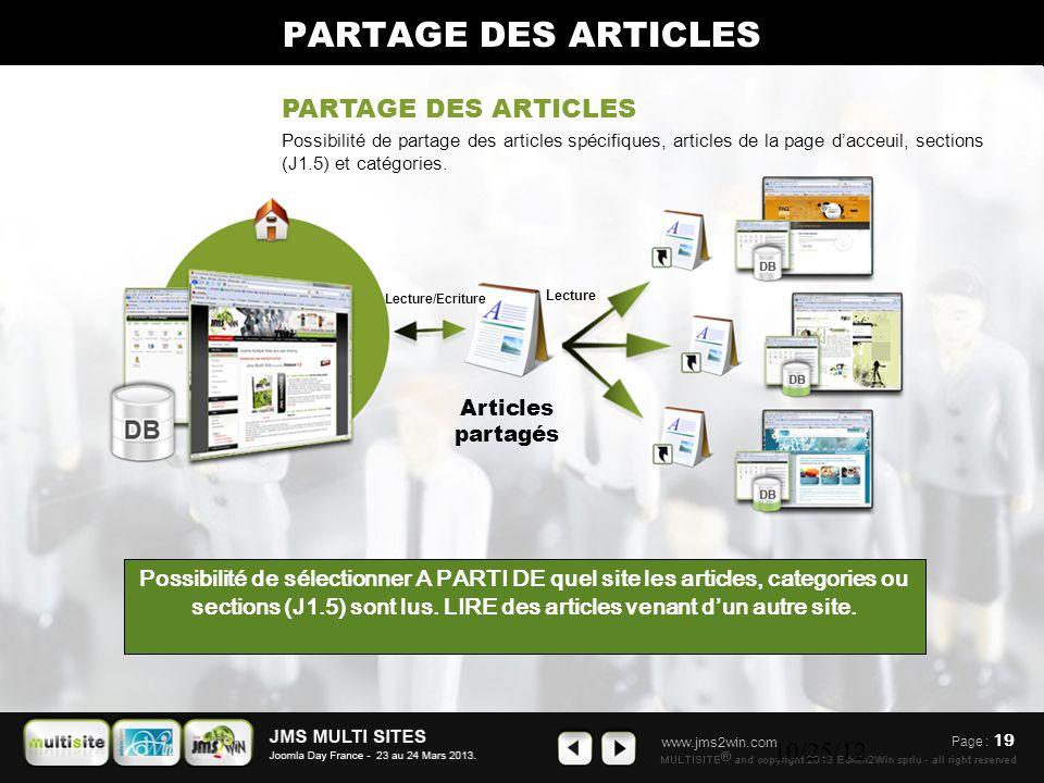 www.jms2win.com 10/25/12 PARTAGE DES ARTICLES Possibilité de sélectionner A PARTI DE quel site les articles, categories ou sections (J1.5) sont lus. L