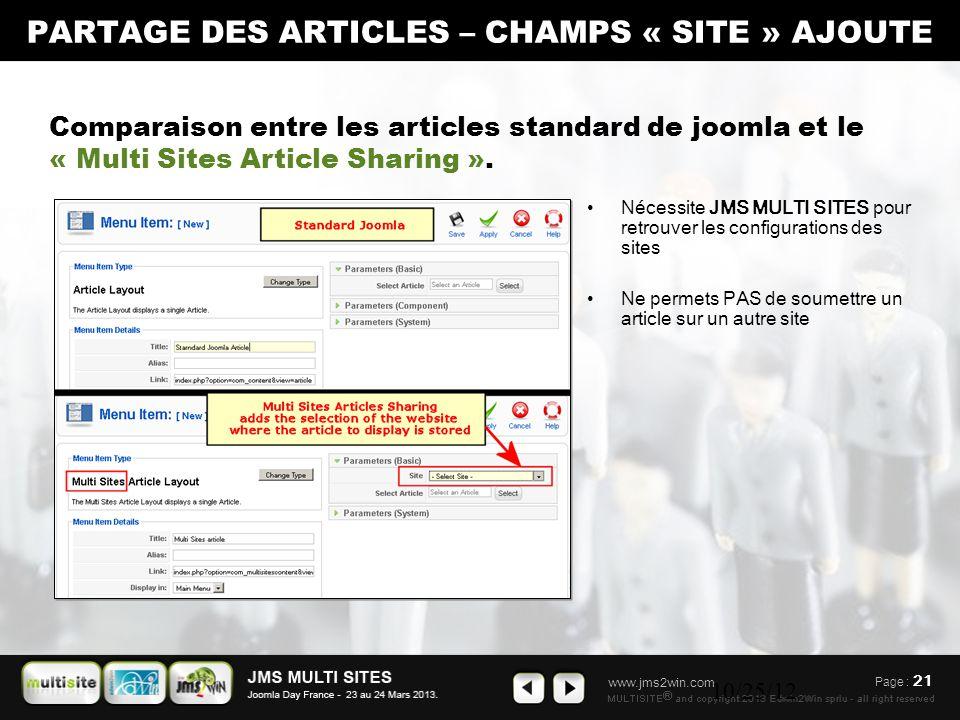 www.jms2win.com 10/25/12 Nécessite JMS MULTI SITES pour retrouver les configurations des sites Ne permets PAS de soumettre un article sur un autre site Comparaison entre les articles standard de joomla et le « Multi Sites Article Sharing ».