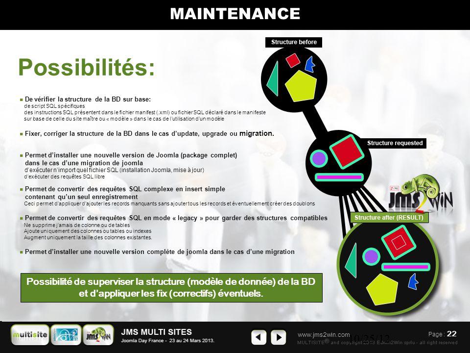 www.jms2win.com 10/25/12 Page : 22 MAINTENANCE Possibilité de superviser la structure (modèle de donnée) de la BD et d'appliquer les fix (correctifs) éventuels.