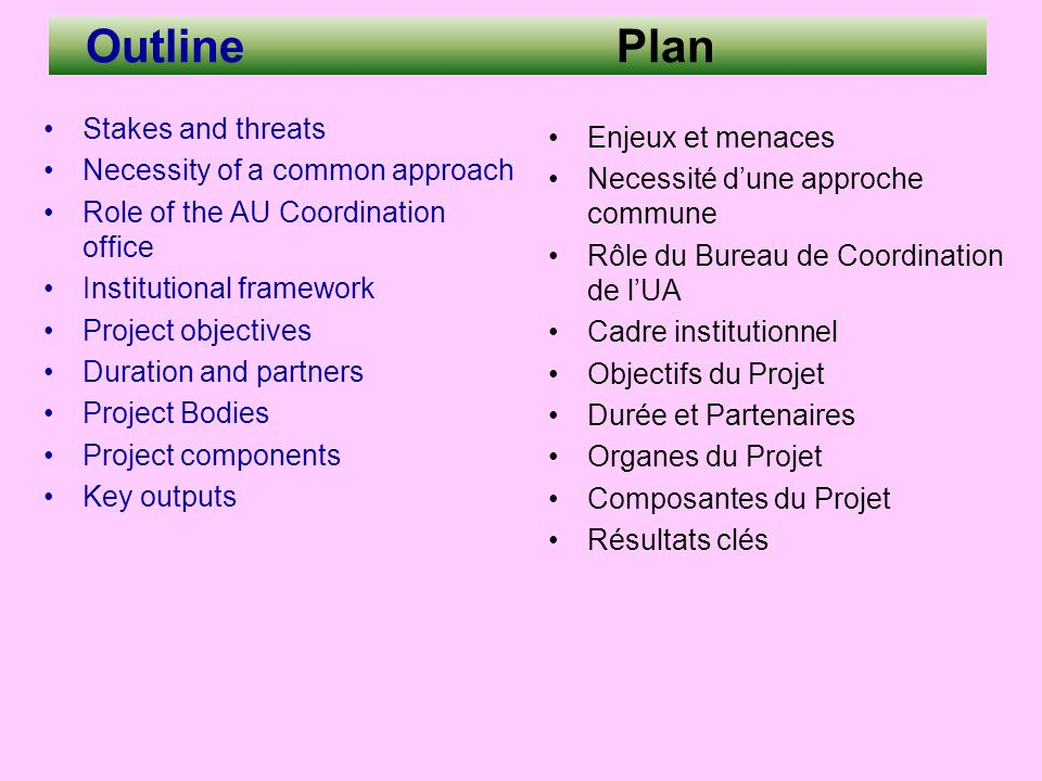 Outline Plan Stakes and threats Necessity of a common approach Role of the AU Coordination office Institutional framework Project objectives Duration