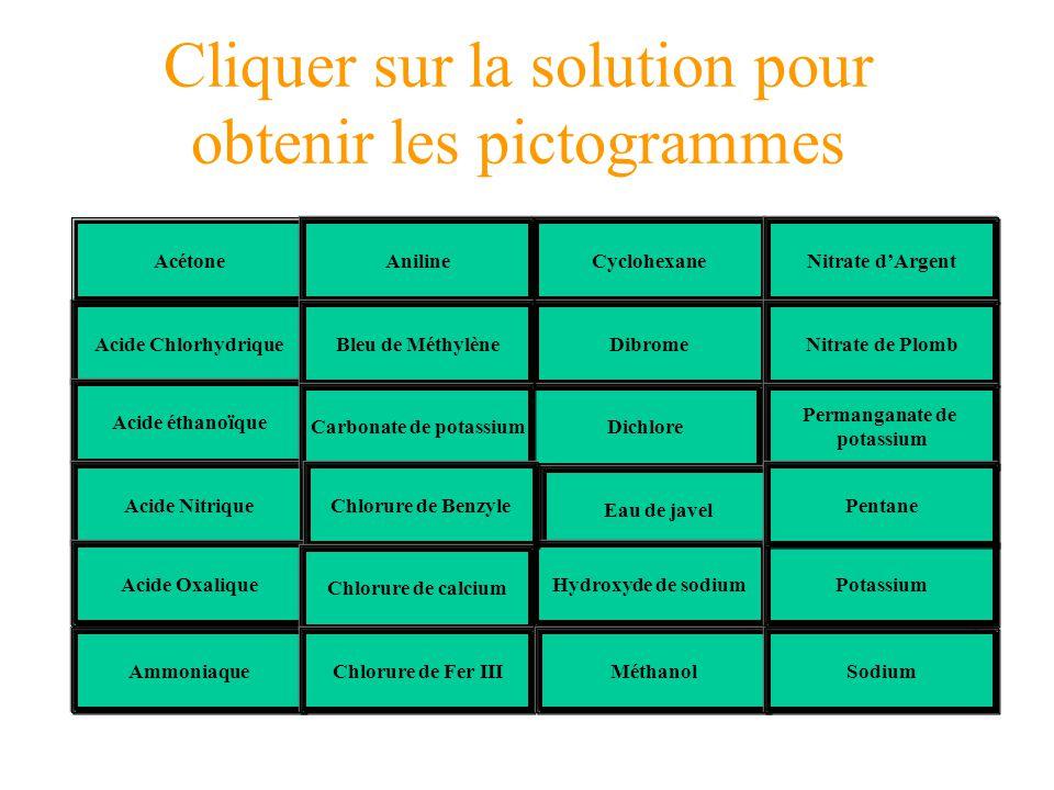 Cliquer sur la solution pour obtenir les pictogrammes Dicchlore Acide 2Eau de Javel Acide 3Hydroxyde de sodium Pentane CyclohexanePotassium Dibrome Ac
