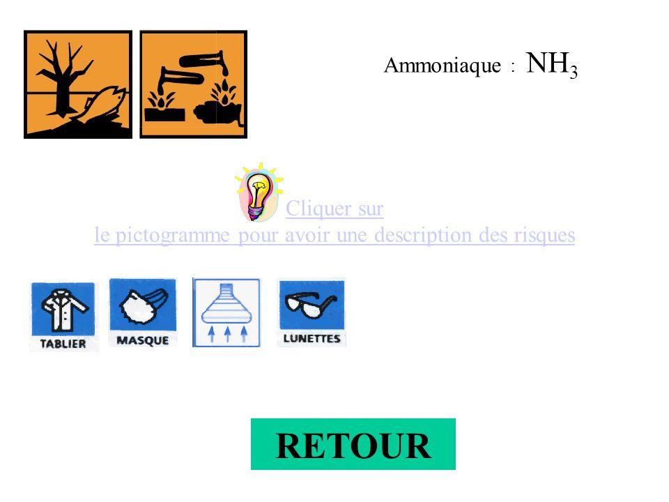 Ammoniaque : NH 3 Cliquer sur le pictogramme pour avoir une description des risques RETOUR