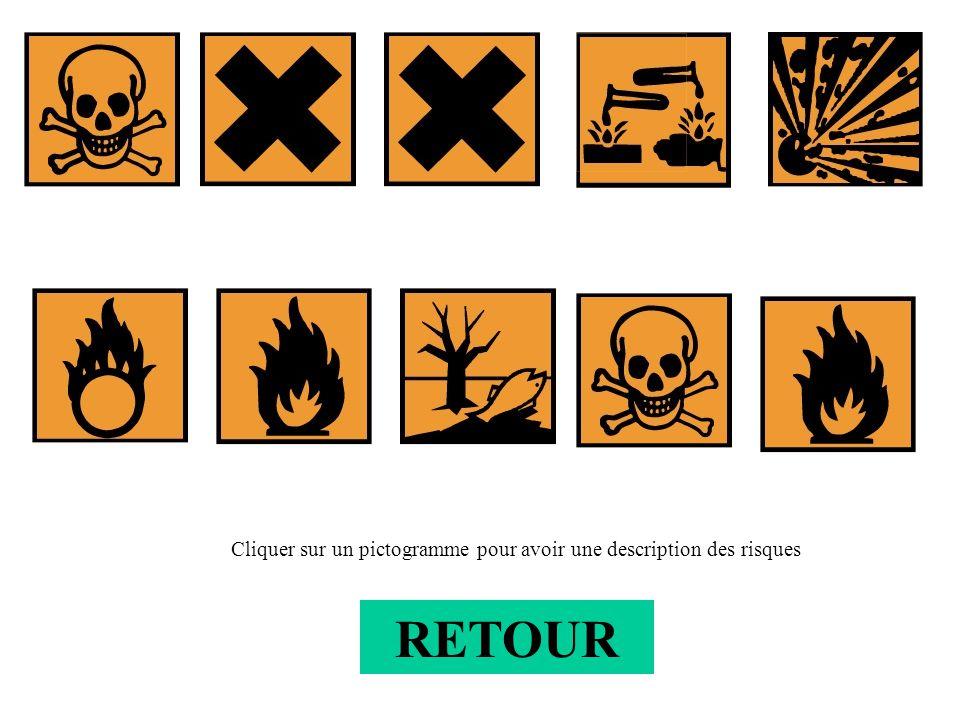 RETOUR Cliquer sur un pictogramme pour avoir une description des risques