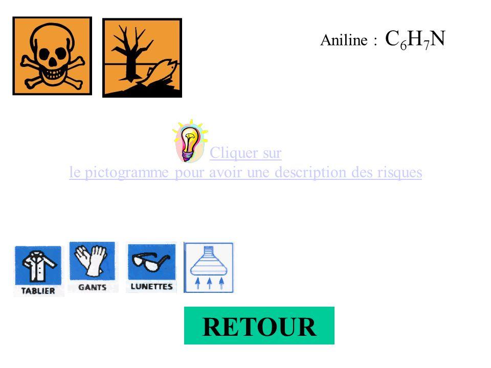 Cliquer sur le pictogramme pour avoir une description des risques Aniline : C 6 H 7 N RETOUR
