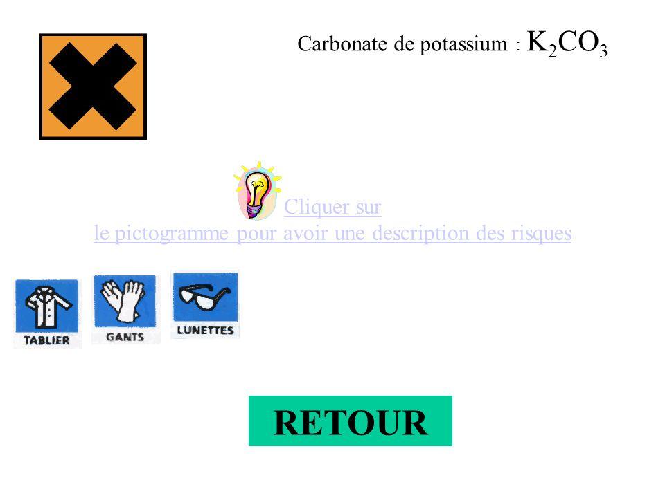 Cliquer sur le pictogramme pour avoir une description des risques Carbonate de potassium : K 2 CO 3 RETOUR