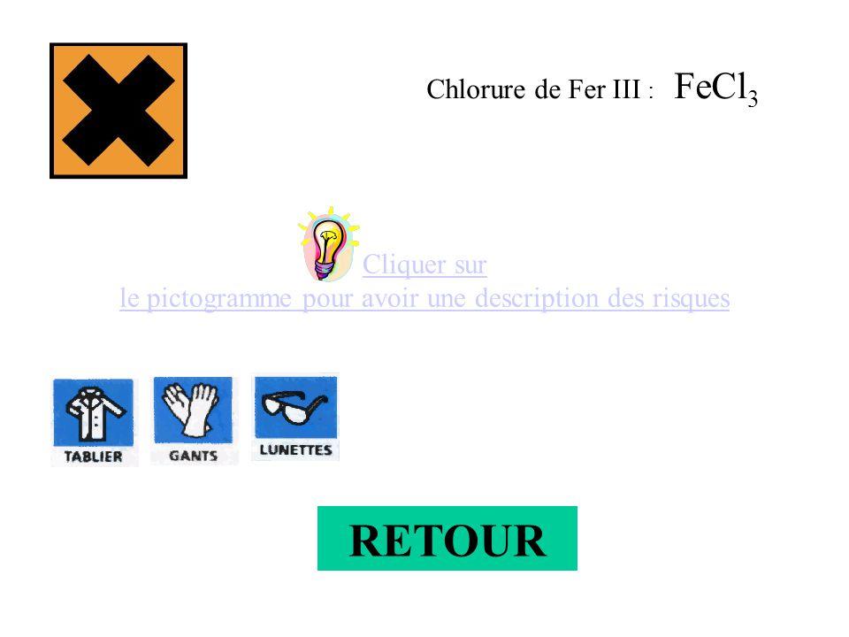 Cliquer sur le pictogramme pour avoir une description des risques Chlorure de Fer III : FeCl 3 RETOUR