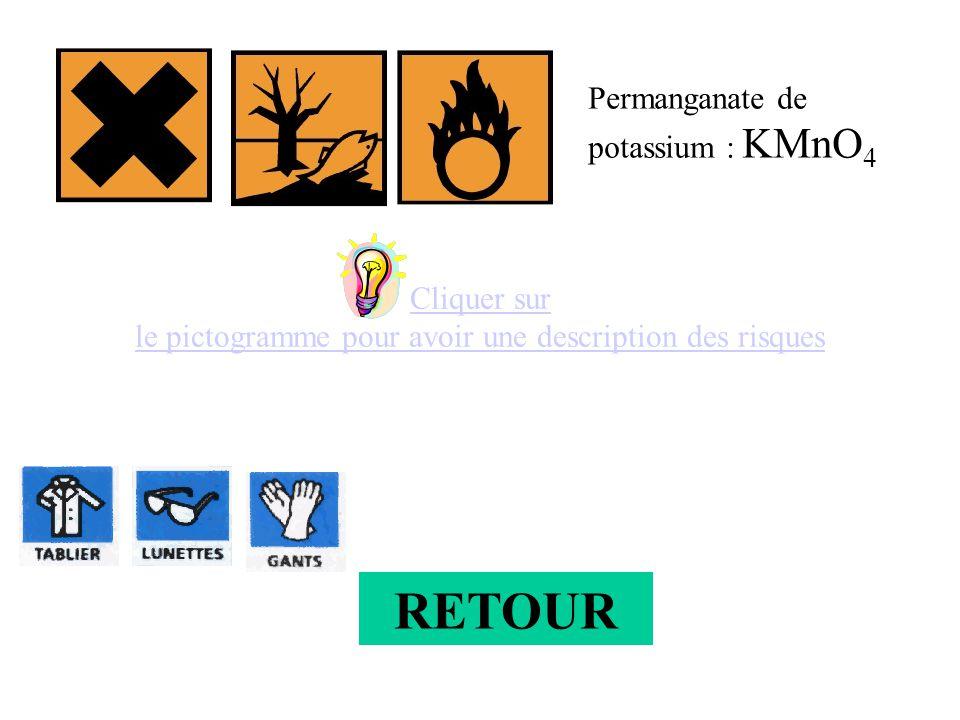 Cliquer sur le pictogramme pour avoir une description des risques Permanganate de potassium : KMnO 4 RETOUR
