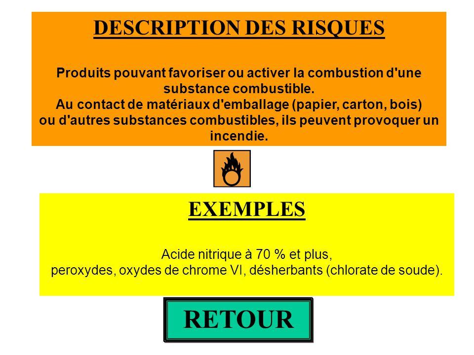 DESCRIPTION DES RISQUES Produits pouvant favoriser ou activer la combustion d'une substance combustible. Au contact de matériaux d'emballage (papier,