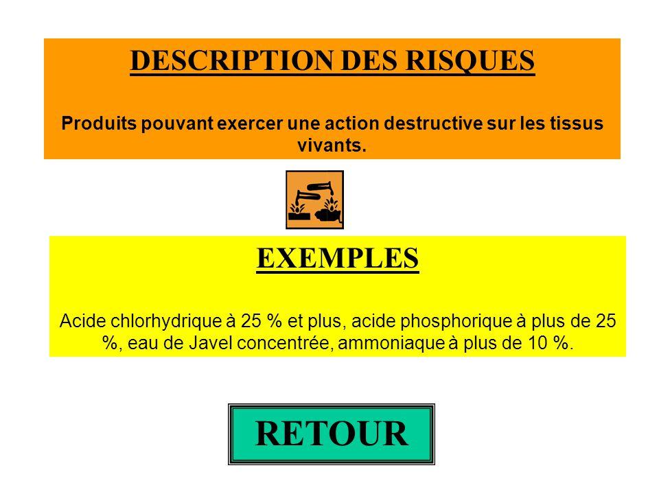DESCRIPTION DES RISQUES Produits pouvant exercer une action destructive sur les tissus vivants. EXEMPLES Acide chlorhydrique à 25 % et plus, acide pho