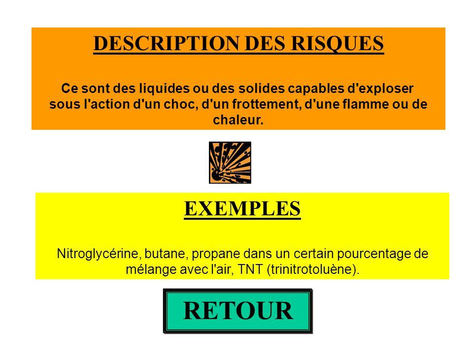 Cliquer sur le pictogramme pour avoir une description des risques Eau de Javel: NaClO,NaCl RETOUR