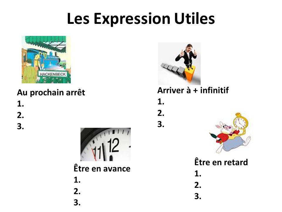 Les Expression Utiles Être en avance 1. 2. 3. Être en retard 1. 2. 3. Arriver à + infinitif 1. 2. 3. Au prochain arrêt 1. 2. 3.