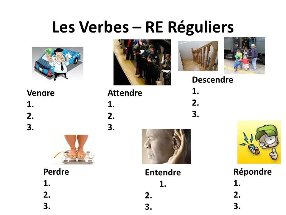 Les Verbes – RE Réguliers Vendre 1. 2. 3. Attendre 1. 2. 3. Perdre 1. 2. 3. Entendre 1. 2. 3. Descendre 1. 2. 3. Répondre 1. 2. 3.