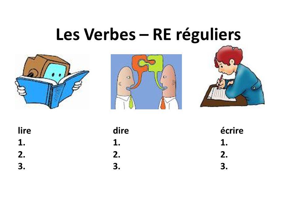 Les Verbes – RE réguliers lire 1. 2. 3. dire 1. 2. 3. écrire 1. 2. 3.