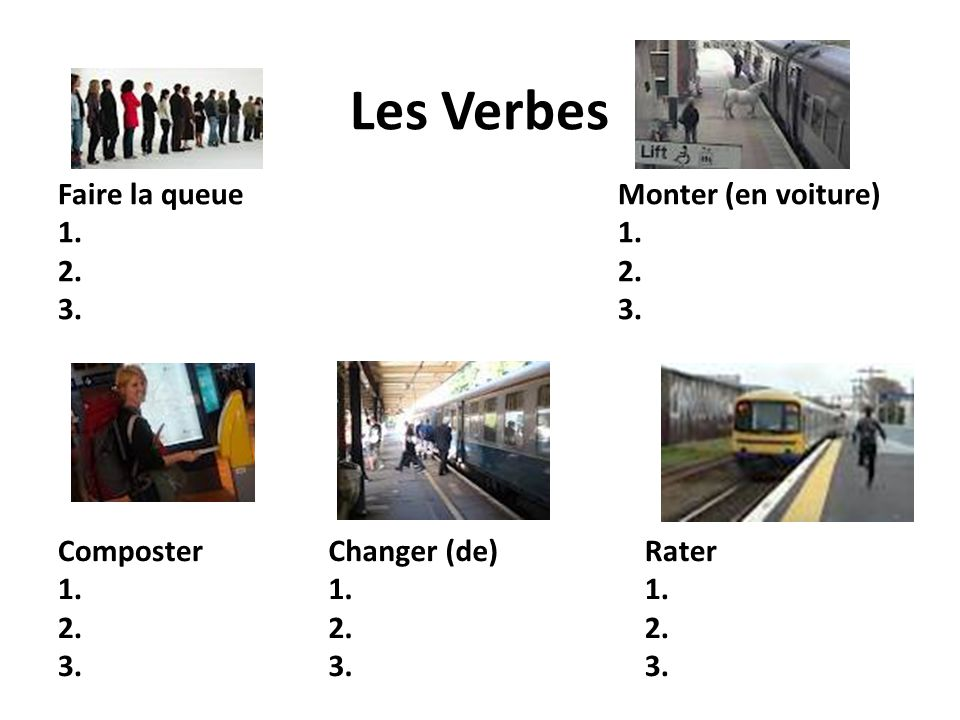 Les Verbes Faire la queue 1. 2. 3. Monter (en voiture) 1. 2. 3. Changer (de) 1. 2. 3. Composter 1. 2. 3. Rater 1. 2. 3.