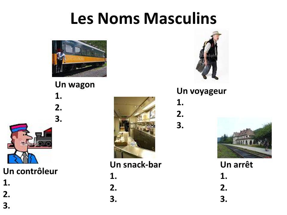 Les Noms Masculins Un wagon 1. 2. 3. Un voyageur 1. 2. 3. Un contrôleur 1. 2. 3. Un snack-bar 1. 2. 3. Un arrêt 1. 2. 3.