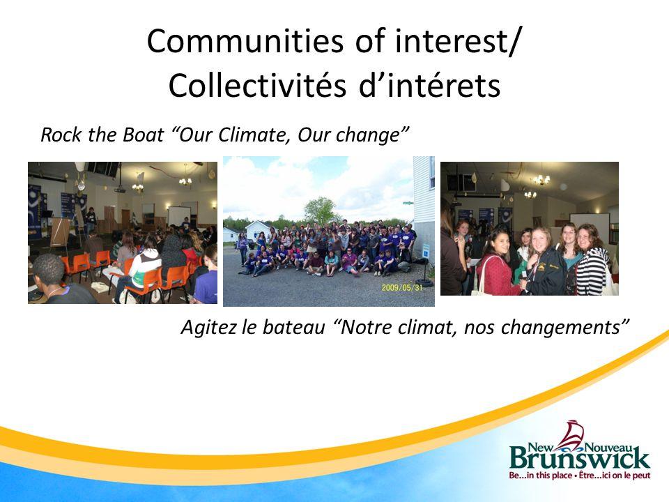 Communities of interest/ Collectivités d'intérets Rock the Boat Our Climate, Our change Agitez le bateau Notre climat, nos changements