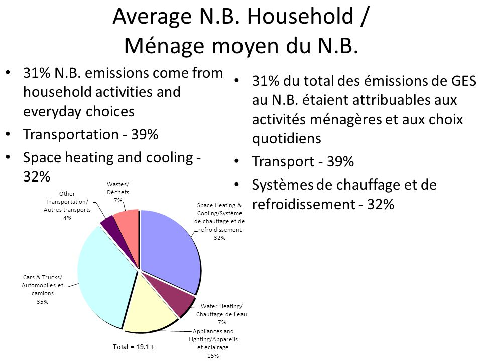 Average N.B.Household / Ménage moyen du N.B. 31% N.B.