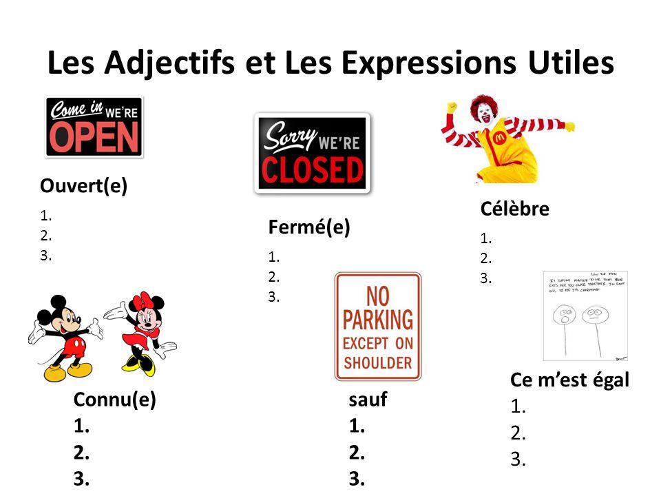 Les Adjectifs et Les Expressions Utiles Ouvert(e) 1. 2. 3. Fermé(e) 1. 2. 3. Célèbre 1. 2. 3. Connu(e) 1. 2. 3. sauf 1. 2. 3. Ce m'est égal 1. 2. 3.