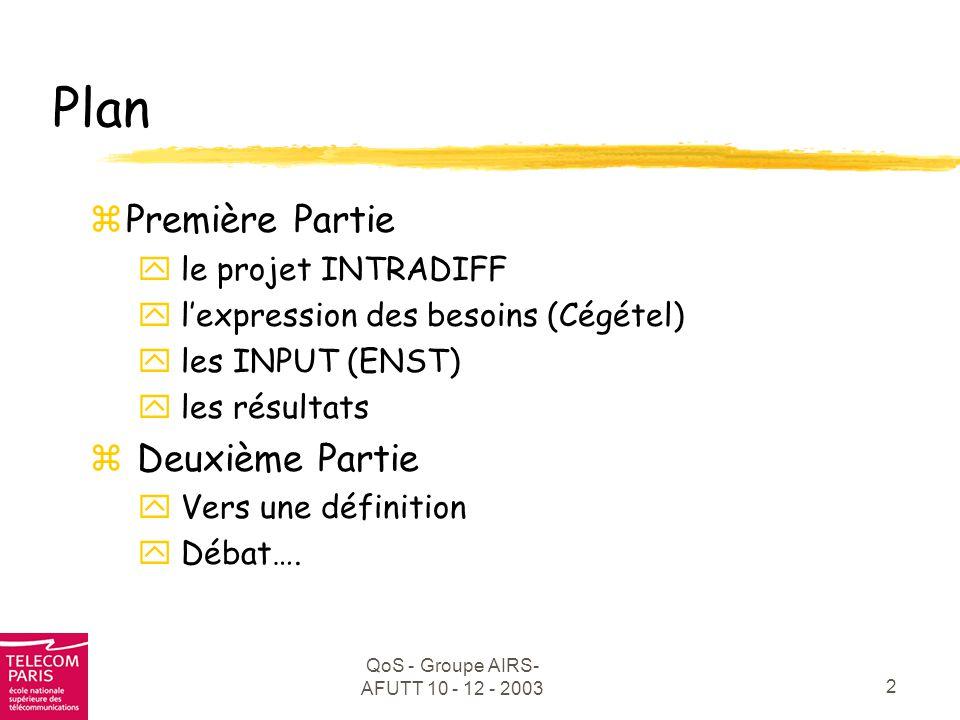 QoS - Groupe AIRS- AFUTT 10 - 12 - 2003 3 zÉtude d'une implémentation optimale de la QoS spécifiée par DiffServ dans un réseau Intranet z5 sous projets, 4 partenaires.