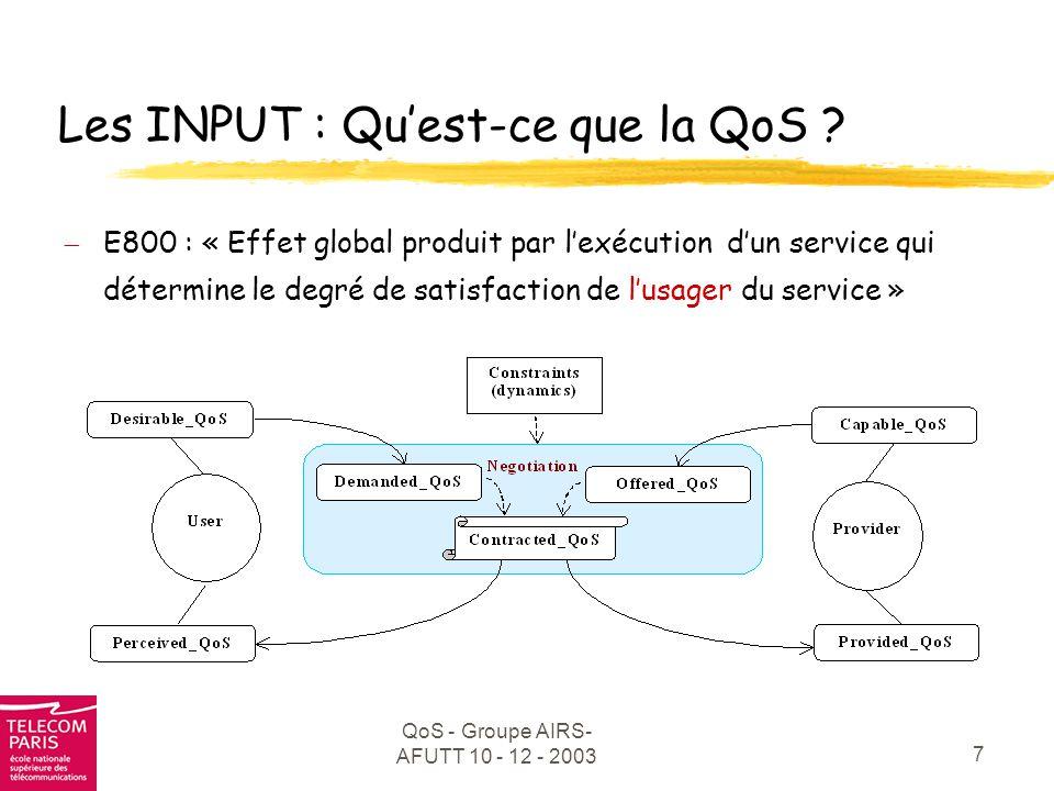 QoS - Groupe AIRS- AFUTT 10 - 12 - 2003 18 QoS : vers une généricité .