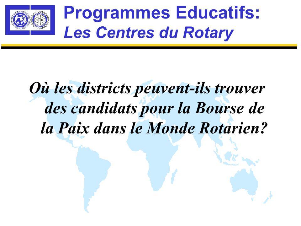 Programmes Educatifs: Les Centres du Rotary Exemple A: Un journaliste & éditeur d'un bureau d'informations étrangères avec comme expérience la guerre en Yougoslavie, présente un intérêt professionnel dans la résolution des conflits par les médias.