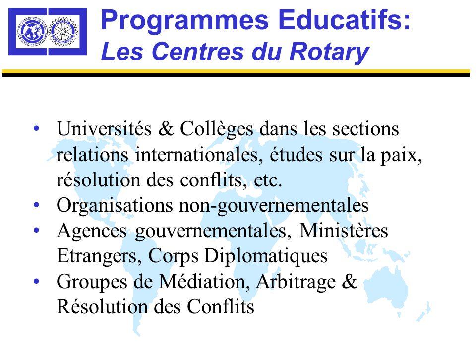 Programmes Educatifs: Les Centres du Rotary Où les districts peuvent-ils trouver des candidats pour la Bourse de la Paix dans le Monde Rotarien