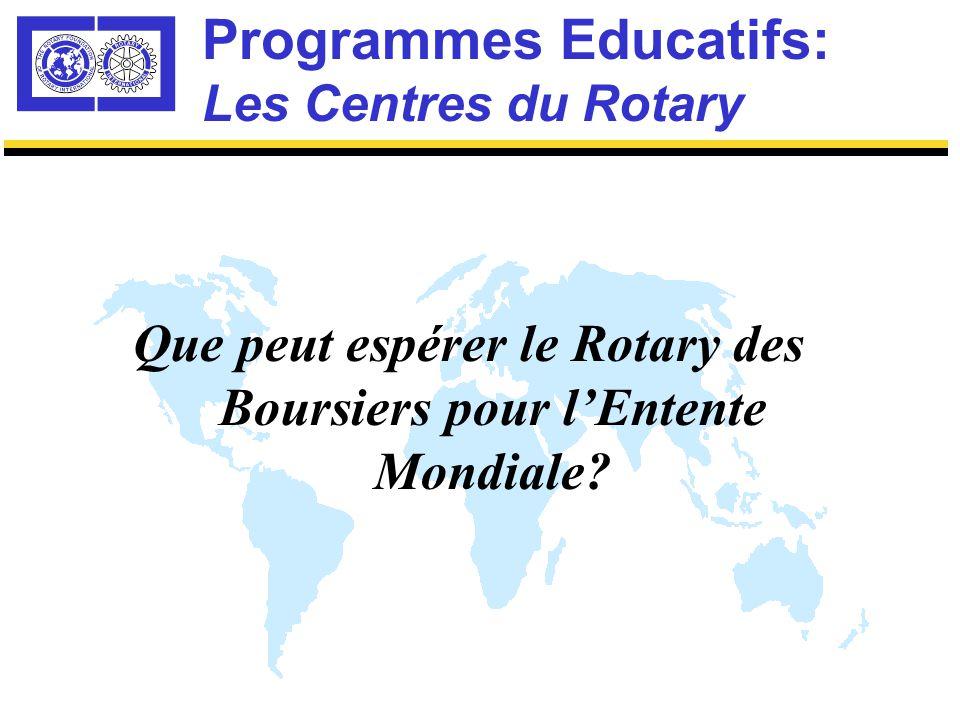 Programmes Educatifs: Sélection Mondiale des Centres Rotary Procédure de Sélection Niveau Mondial Tous les districts devraient sélectionner un candidat, chaque année Sélection Compétitive Mondiale Décision commune du Rotary et de l'Université