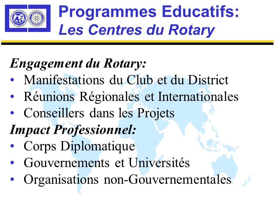 Programmes Educatifs: Les Centres du Rotary Que peut espérer le Rotary des Boursiers pour l'Entente Mondiale