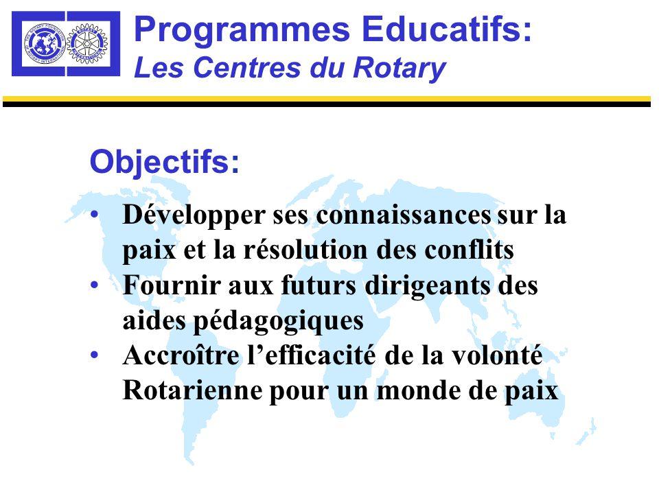 Programmes Educatifs Les Centres du Rotary pour Etudes Internationales sur la Paix et la Résolution des Conflits