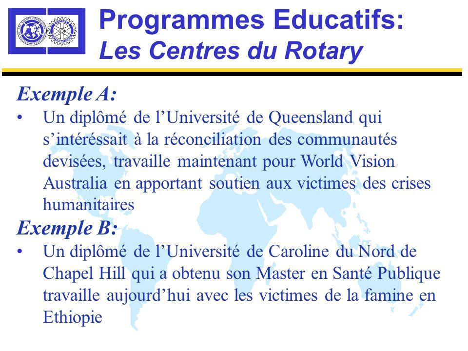 Programmes Educatifs: Les Centres du Rotary Engagement du Rotary: Manifestations du Club et du District Réunions Régionales et Internationales Conseillers dans les Projets Impact Professionnel: Corps Diplomatique Gouvernements et Universités Organisations non-Gouvernementales