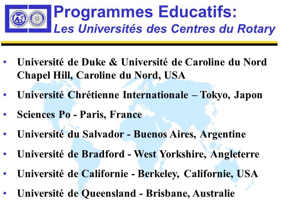 7 Centres Universitaires 70 Bourses du Rotary pour la Paix dans le Monde – sélectionnées annuellement sur des Critères de Compétition Mondiale Un diplôme Master en 2 ans sur la paix, la résolution des conflits et les relations internationales Débuts des Etudes 2002/2003 Programme Educatifs: Concepts de Base des Centres du Rotary
