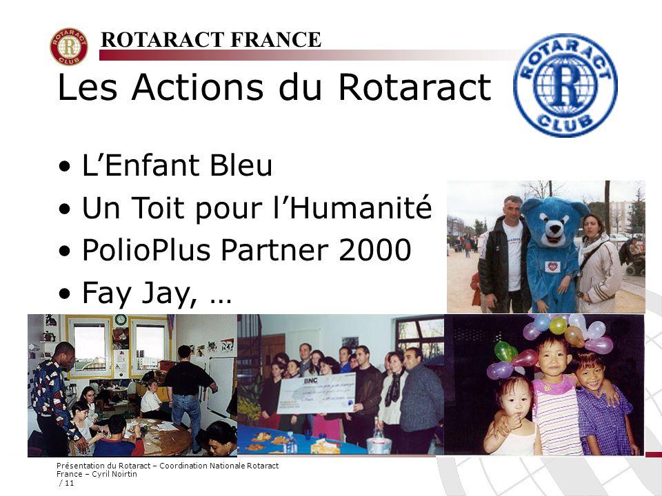 ROTARACT FRANCE Présentation du Rotaract – Coordination Nationale Rotaract France – Cyril Noirtin / 11 Les Actions du Rotaract L'Enfant Bleu Un Toit p