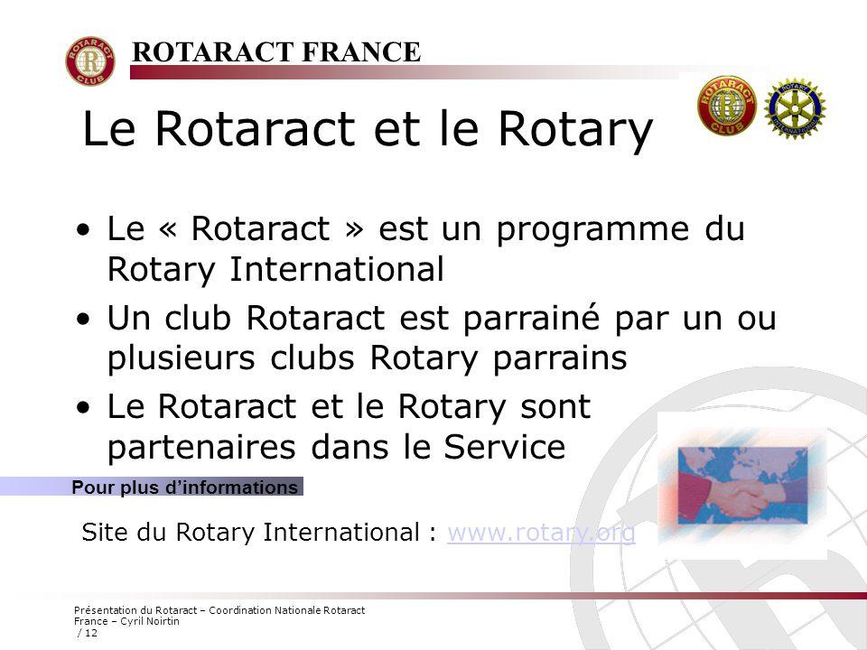 ROTARACT FRANCE Présentation du Rotaract – Coordination Nationale Rotaract France – Cyril Noirtin / 12 Le Rotaract et le Rotary Le « Rotaract » est un