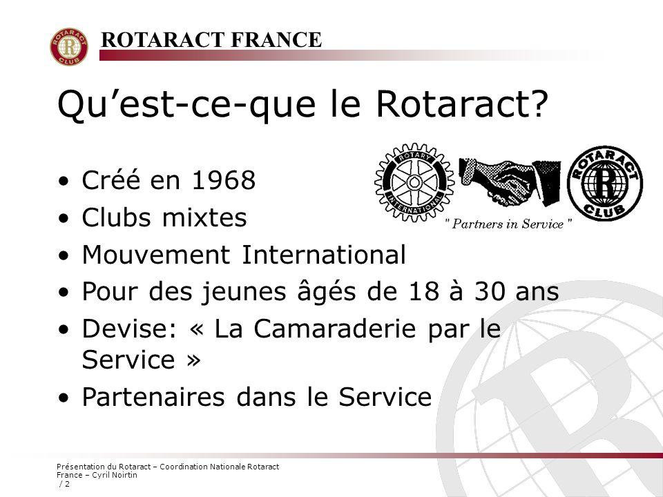 ROTARACT FRANCE Présentation du Rotaract – Coordination Nationale Rotaract France – Cyril Noirtin / 2 Qu'est-ce-que le Rotaract? Créé en 1968 Clubs mi