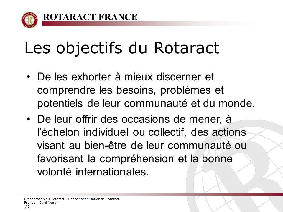 ROTARACT FRANCE Présentation du Rotaract – Coordination Nationale Rotaract France – Cyril Noirtin / 6 Gestion du club (le bureau) Président Vice-Président Secrétaire Trésorier Protocole Pour plus d'informations Voir le « Guide de Fonctionnement du Comité du Club », téléchargeable sur le www.rotaract.org/france