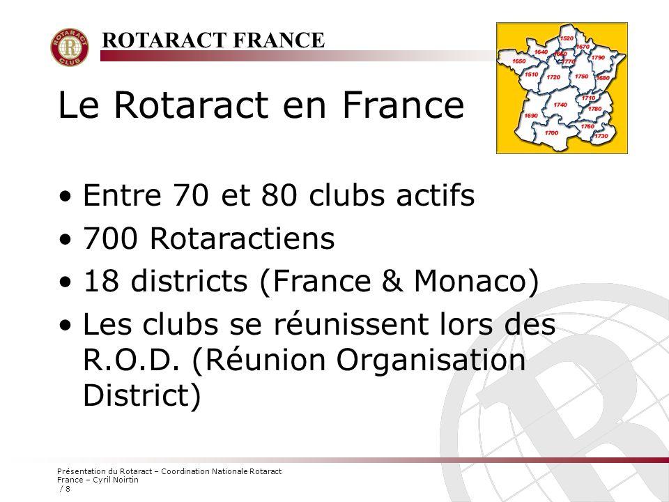 ROTARACT FRANCE Présentation du Rotaract – Coordination Nationale Rotaract France – Cyril Noirtin / 8 Le Rotaract en France Entre 70 et 80 clubs actif