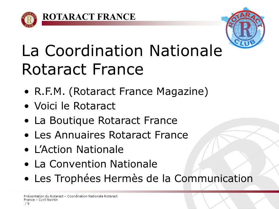 ROTARACT FRANCE Présentation du Rotaract – Coordination Nationale Rotaract France – Cyril Noirtin / 10 Le Site Internet Les clubs Rotaract Français ont à leur disposition, un site internet riche en informations.