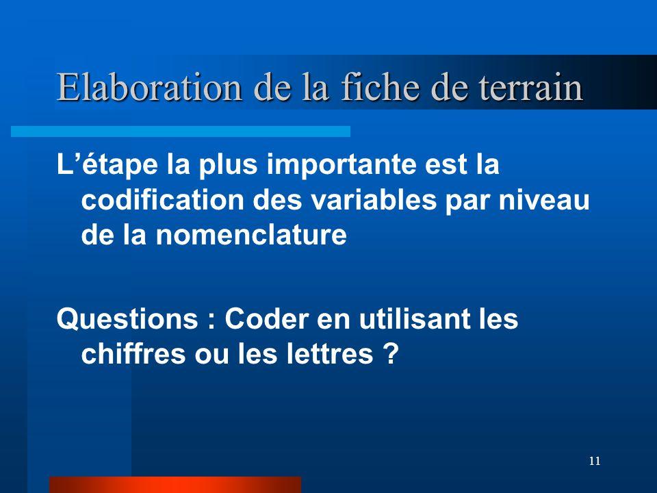 11 Elaboration de la fiche de terrain L'étape la plus importante est la codification des variables par niveau de la nomenclature Questions : Coder en utilisant les chiffres ou les lettres
