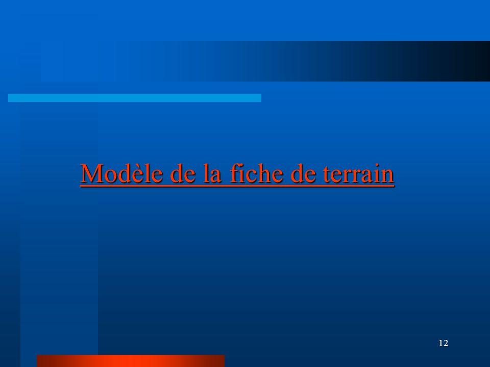 12 Modèle de la fiche de terrain Modèle de la fiche de terrain