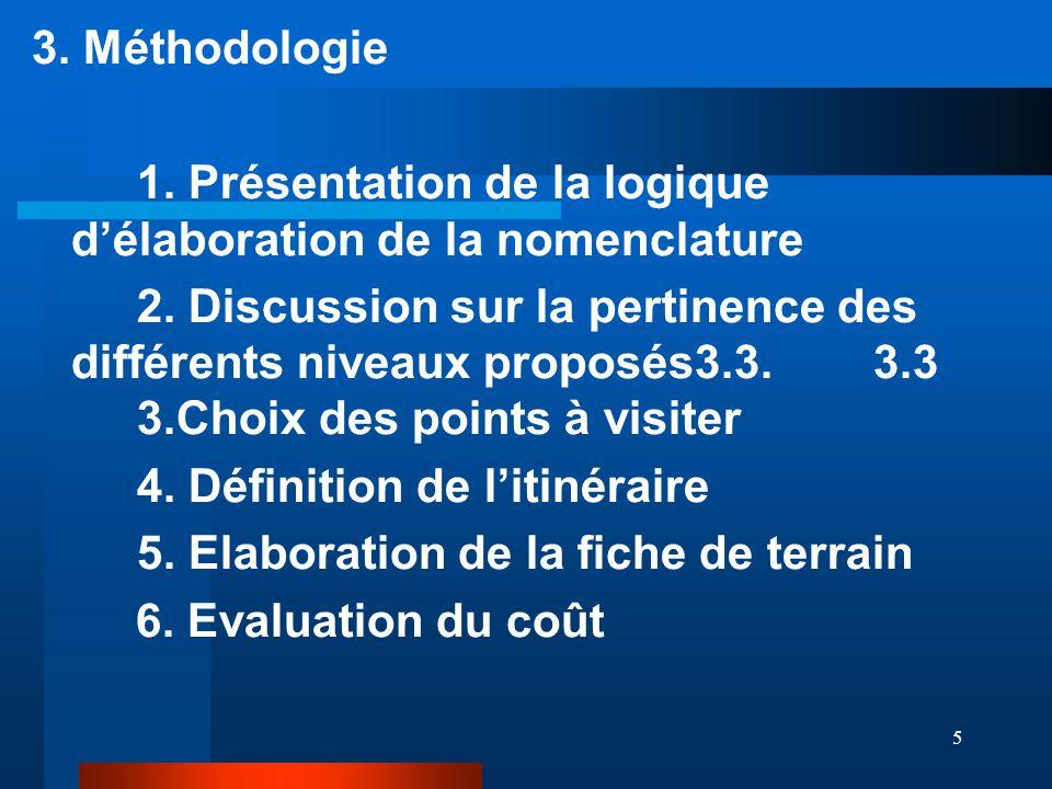 5 3. Méthodologie 1. Présentation de la logique d'élaboration de la nomenclature 2.