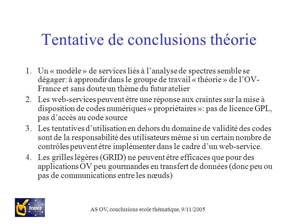 AS OV, conclusions ecole thématique, 9/11/2005 Tentative de conclusions théorie 1.Un « modèle » de services liés à l'analyse de spectres semble se dégager: à approndir dans le groupe de travail « théorie » de l'OV- France et sans doute un thème du futur atelier 2.Les web-services peuvent être une réponse aux craintes sur la mise à disposition de codes numériques « propriétaires »: pas de licence GPL, pas d'accès au code source 3.Les tentatives d'utilisation en dehors du domaine de validité des codes sont de la responsabilité des utilisateurs même si un certain nombre de contrôles peuvent être implémenter dans le cadre d'un web-service.