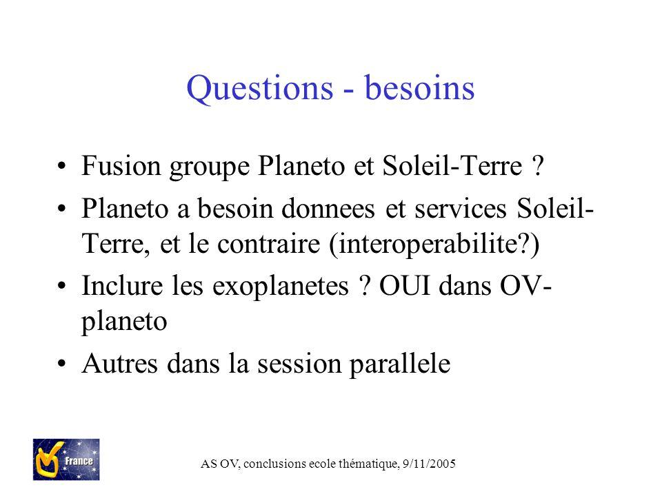 AS OV, conclusions ecole thématique, 9/11/2005 Questions - besoins Fusion groupe Planeto et Soleil-Terre .