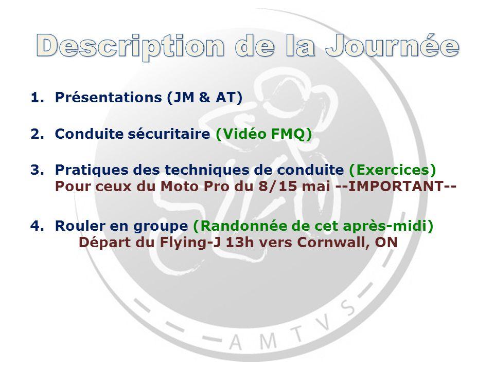 1.Présentations (JM & AT) 2.Conduite sécuritaire (Vidéo FMQ) 3.Pratiques des techniques de conduite (Exercices) Pour ceux du Moto Pro du 8/15 mai --IMPORTANT-- 4.Rouler en groupe (Randonnée de cet après-midi) Départ du Flying-J 13h vers Cornwall, ON